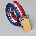 Children belt boy striped canvas belt with shiny buckle flexiable length toddlers stripe belt 85x3 0cm