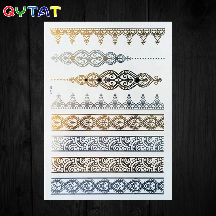 Beautiful Metallic Foil Tattoo High Quality Henna Sticker Tattoo For Women