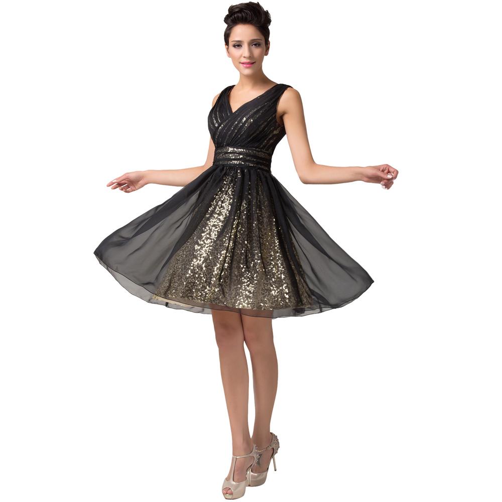 0ee79f76dee блесток черный короткие вечерние платья женщин Официальные вечерние платья  сексуальный v-образным вырезом Пром партии