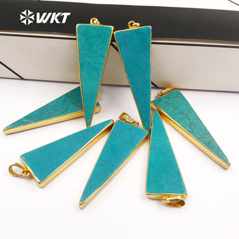 WT-P455 24Kt Gold Electroplated Edge Howlite Turquoise Triangle Pendant Gold Layered Single Bail Pendant Gemstone Pendant