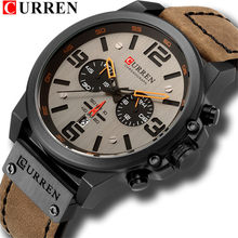 Часы мужские, армейские, спортивные, кварцевые, с кожаным ремешком(Китай)
