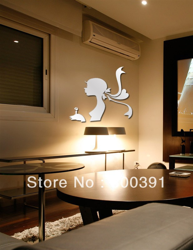 free shipping(1 set) beautiful girls, PS wall decal,1MM thickness 3D mirror stickers,kids bedroom decoration E113
