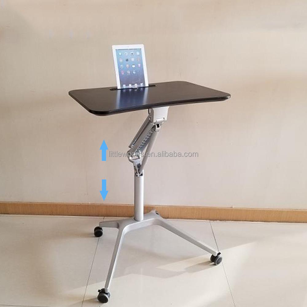 Pneumatic Sit Stand Height Adjustable Rolling Laptop Cart Mobile Desk Workstation Buy Sit Stand Mobile Desk Rolling Workstation Pneumatic Adjustable Desk Product On Alibaba Com