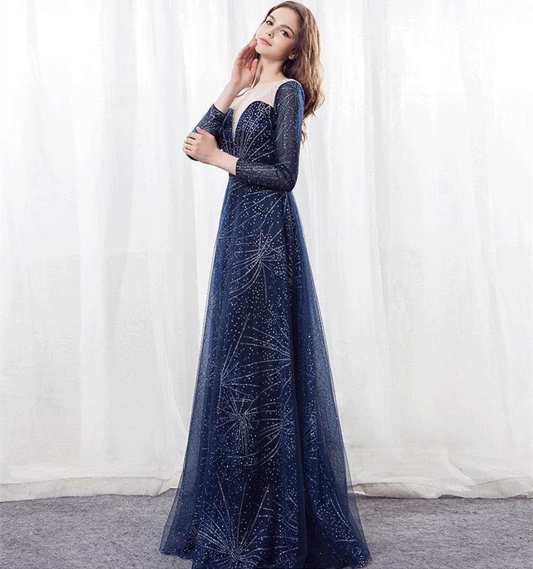 Женское вечернее платье с бусинами, темно-синее платье для выпускного вечера, 2021