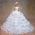 White Wedding Dress Veil Bouquet set Multi layers Lace Big Bride Gown Clothing Outfit Clothes For