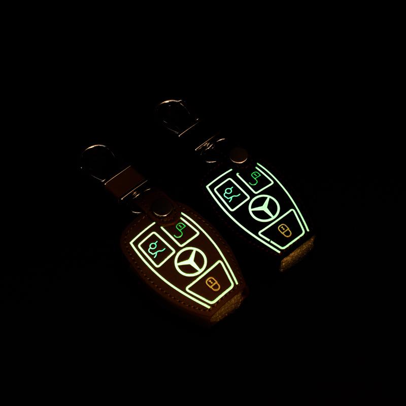 mercedes benz sleutel accessoires voor auto s ml e e c b cls class echt leer lichtgevend effect. Black Bedroom Furniture Sets. Home Design Ideas