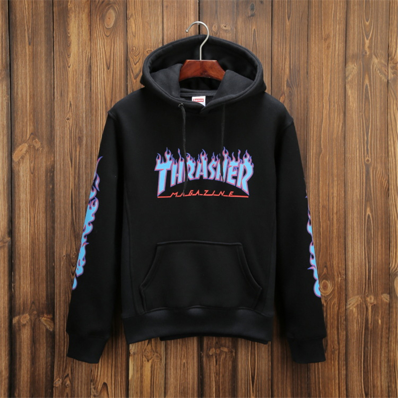 High Quality 2016 Winter Mens Skateboards Thrasher Flame Hoodie Male  Thicken Cotton Trasher Hooded Sweatshirt Magazine c65d2c871