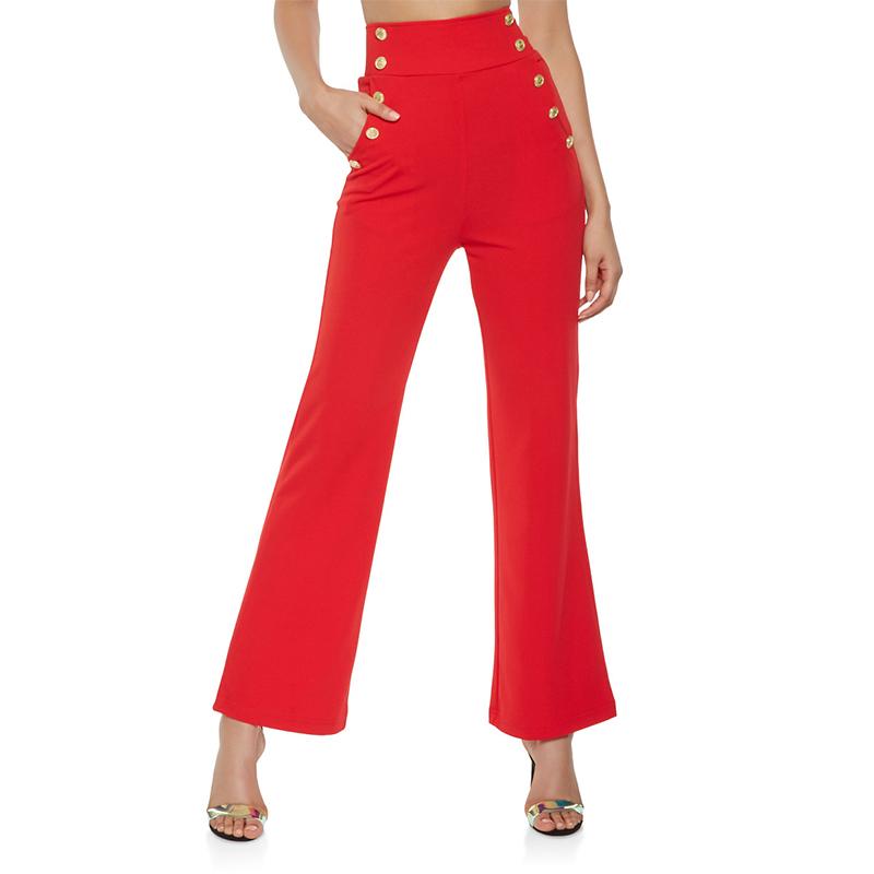 De Alta Calidad De Pierna Ancha Cintura Alta Boton Pantalones De Las Senoras Alto Pantalones De Las Mujeres Buy Pantalones De Pierna Ancha Pantalones Elegantes De Mujer Pantalones De Mujer Product On Alibaba Com