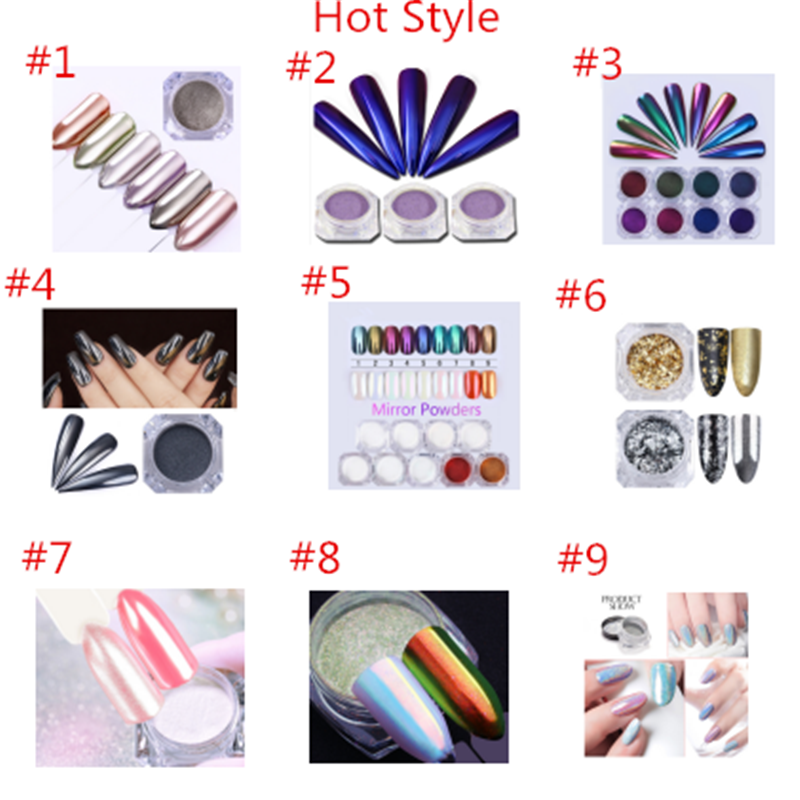 Yiwu Import Export 100% Holo Mirror Dust Aurora Pigment Neon Acrylic Powder For Nail