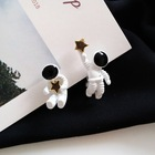 Star Stud Earrings Unique Design Creative Cute Cartoon Astronaut Spacemen Star Stud Earrings