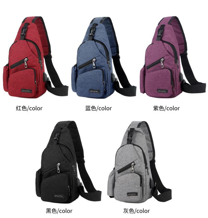Wholesale High Quality Black Lightweight Sling Bag Canvas Anti-theft Backpack Black Chest Bag Shoulder Tote Bag
