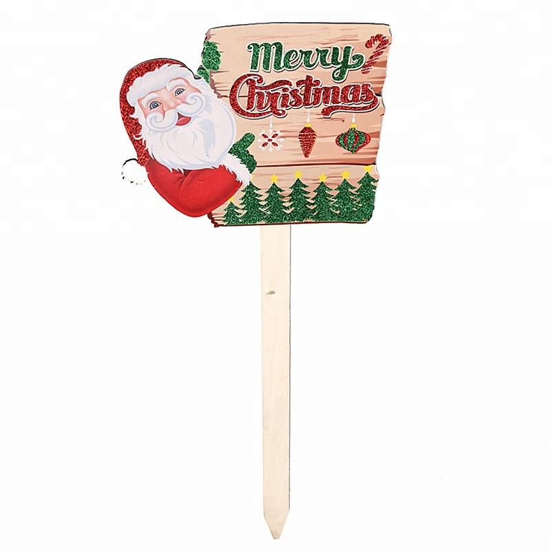 Santa Claus Apuntando Forma Cuadrada De Madera Signo Escribir Feliz Navidad Patio De Juego Buy Signo De Madera De Forma Cuadrada Escribe Una Estaca De Patio De Feliz Navidad Estaca De Patio De