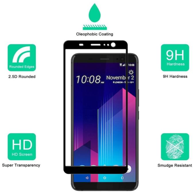 Best 9H Anti Scratch Silk Print Tempered Glass Screen Protector for HTC D12/D12 Plus/U11 Eyes/U11 Plus/10 Evo/10 Pro/A9/M10