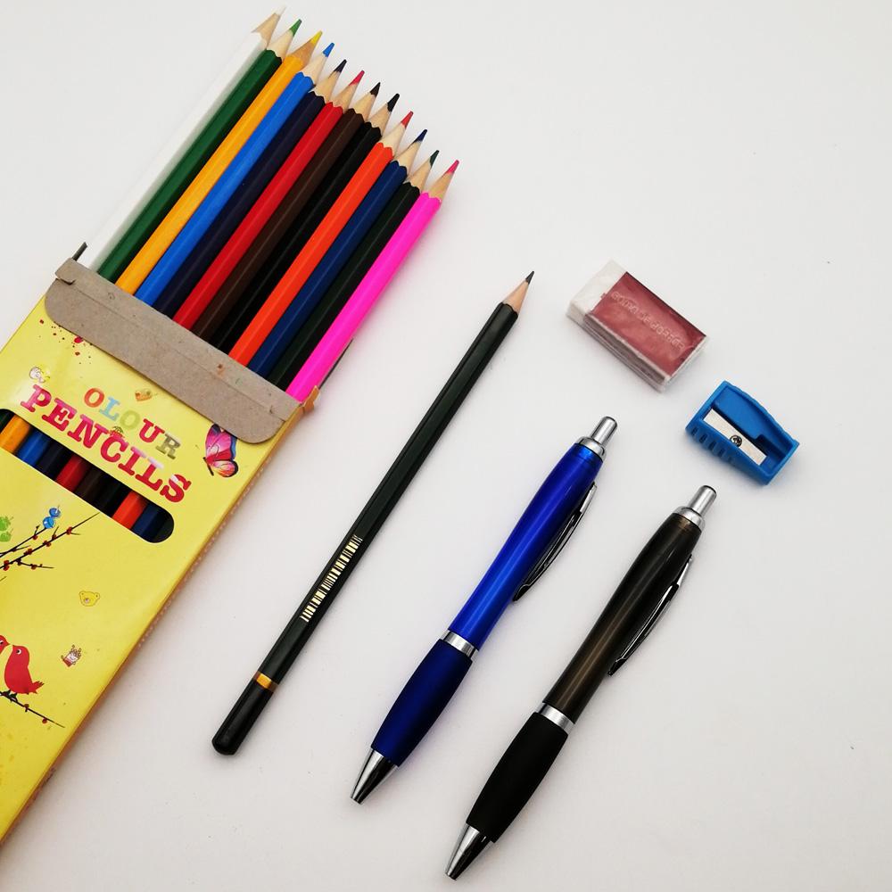 Оригинальная рекламная детская шариковая ручка, цветной карандаш, ластик, стол, недорогой подарок, офисные канцелярские принадлежности, набор для школьников, детей