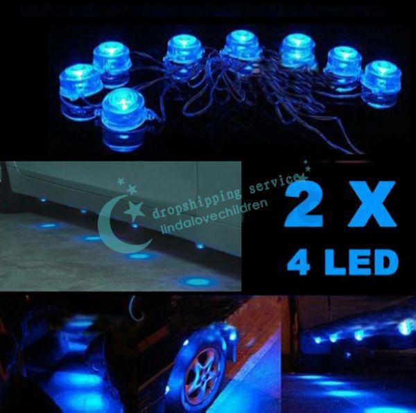 8 X синий лёгкие из светодиодов автомобиль украшение минимальный уровень водонепроницаемый сторона лёгкие украшение лампа