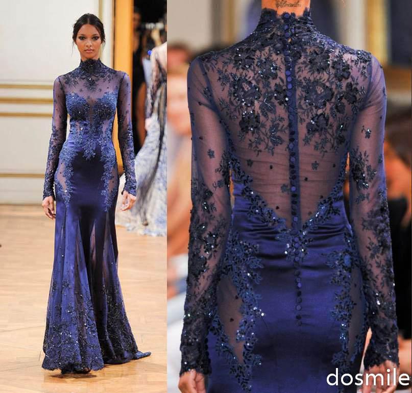 Zuhair Murad sheer High Neck Lace Formal Evening Dresses ...