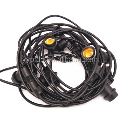 Classic LED Cafe String Lights, Black, 48 Foot Length, 24 Impact Resistant Lifetime Bulbs