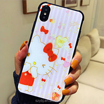 Good selling lovely cat Hello Kitty Tempered Light glass phone case cover accessories mobile case for iphone 8