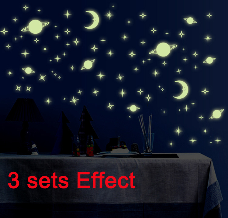 3 sets glow in the dark moon planet stars kids room luminous wall stickers home wall decal. Black Bedroom Furniture Sets. Home Design Ideas