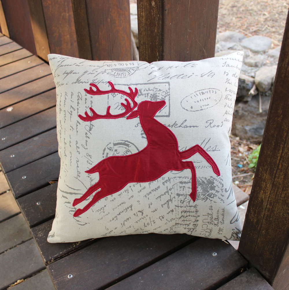 Vezo Home Embroidered Red Deer Linen Cotton Sofa Cushions Diy Chair Cover No Sew Folding