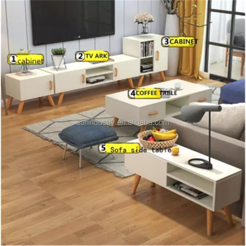 Simple Design Tv Stand And Coffee Table And Book Closet Cabinet Living Room Furniture Sets Buy Wooden Tv Stand And Cabinet Morden Style Large Storage Space For Easy Finishing Product On Alibaba Com