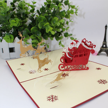 UCHOME Santa Ride 3d Handmade Pop Up Post Christmas Cards