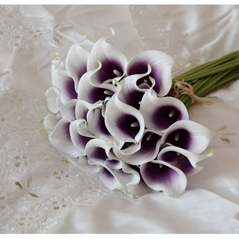 14 colors calla lily bridal wedding bouquets 9 pieces lot real touch dark purple artificial. Black Bedroom Furniture Sets. Home Design Ideas