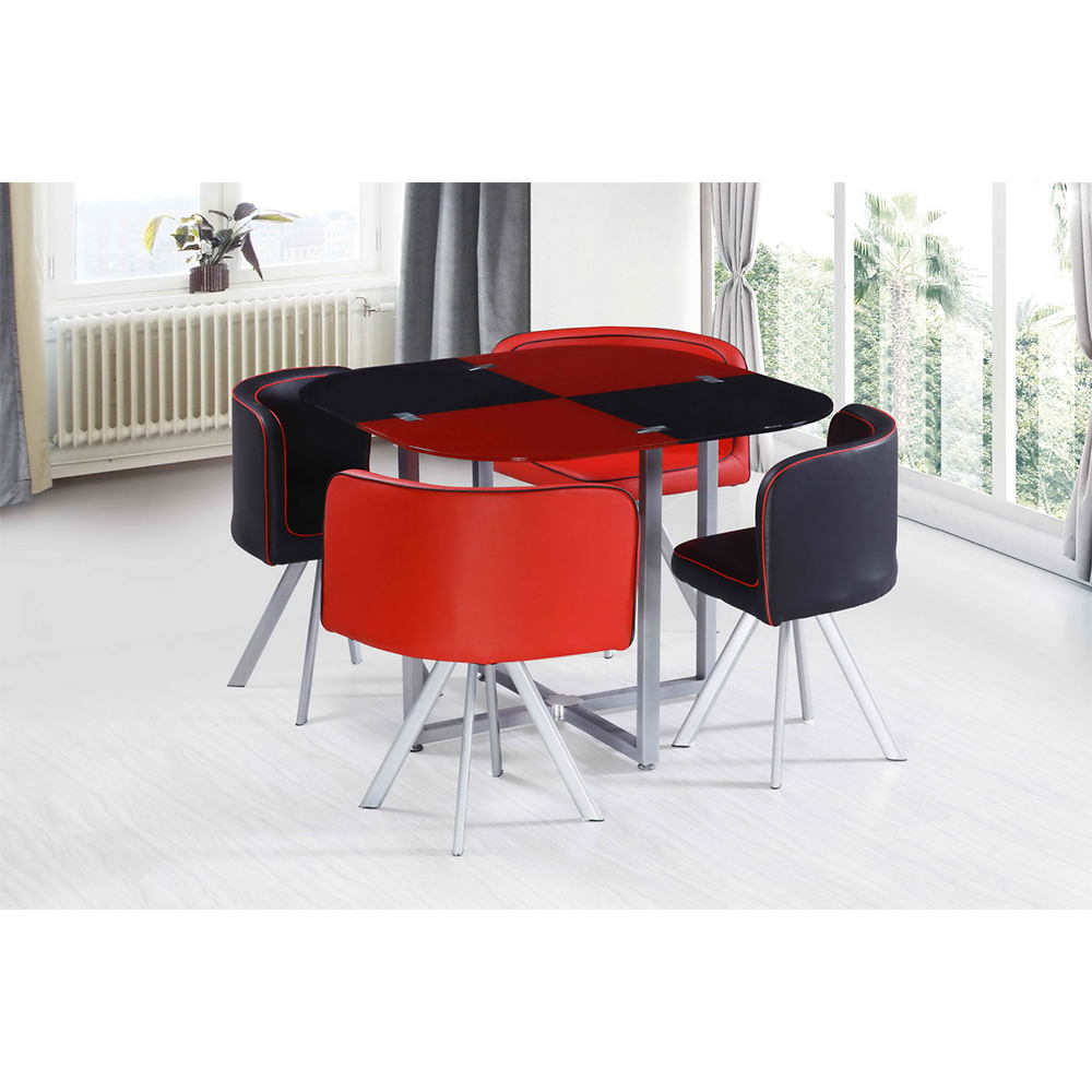 Competitive Tempered Glass Centre Dining Table And 9 Chair Set Hot ...