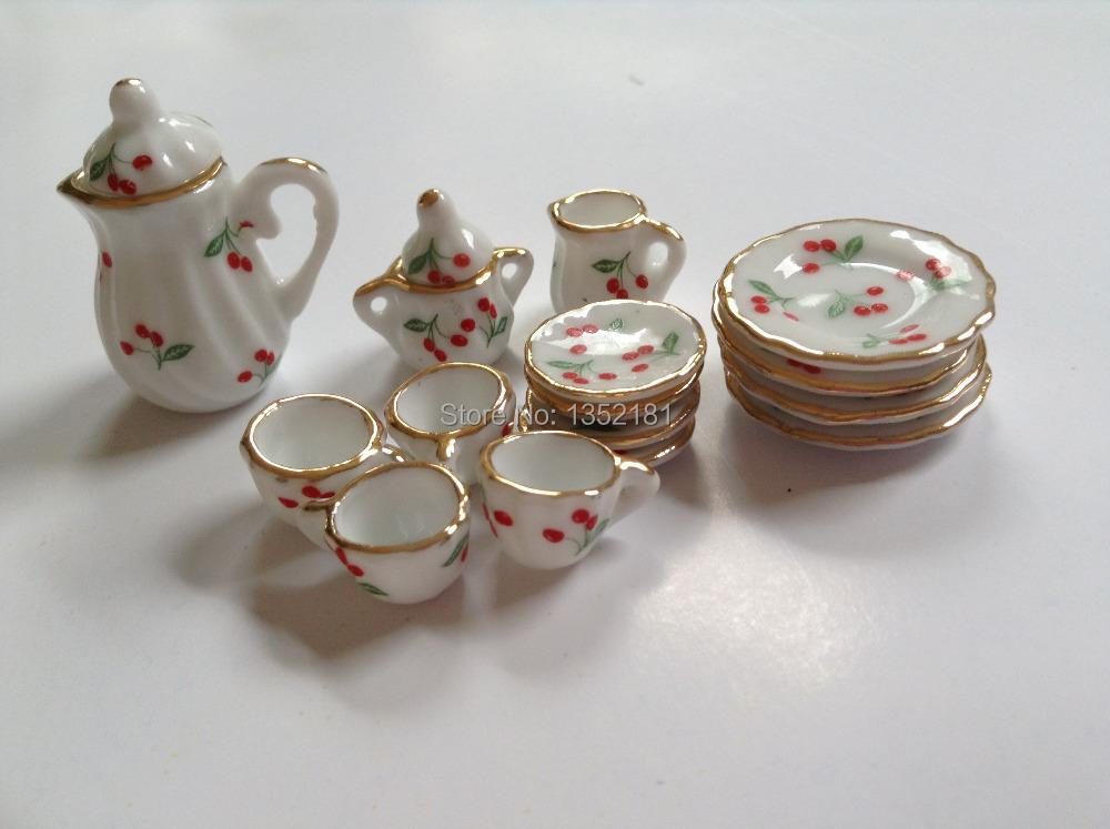 1 12 Cute MINI Dollhouse Miniature kitchen red fruit china ceramic tea set 15 pcs