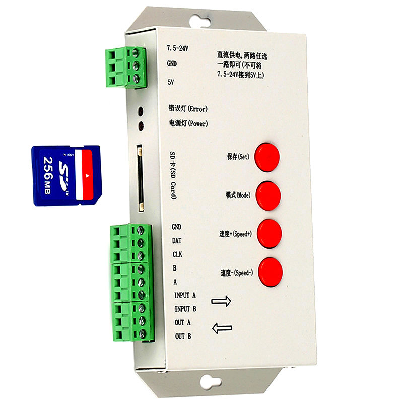 SD Card T1000 T-1000 T-1000S LED Pixel Controller,DC5~24V,Max  2048pixels,Support WS2801,LPD6803,WS2811,TM1804,TM1809,LPD8806etc
