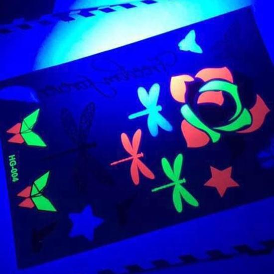 Customized Temporary UV Light Glowing Colourful Neon Tattoo Sticker