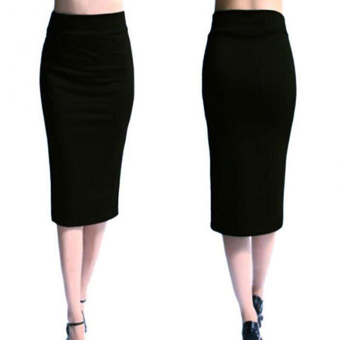 Otoño Invierno mujer lápiz falda cintura alta algodón sólido estiramiento  elástico Slim negocios OL dividir Bodycon faldas XR 6087d5d19db5