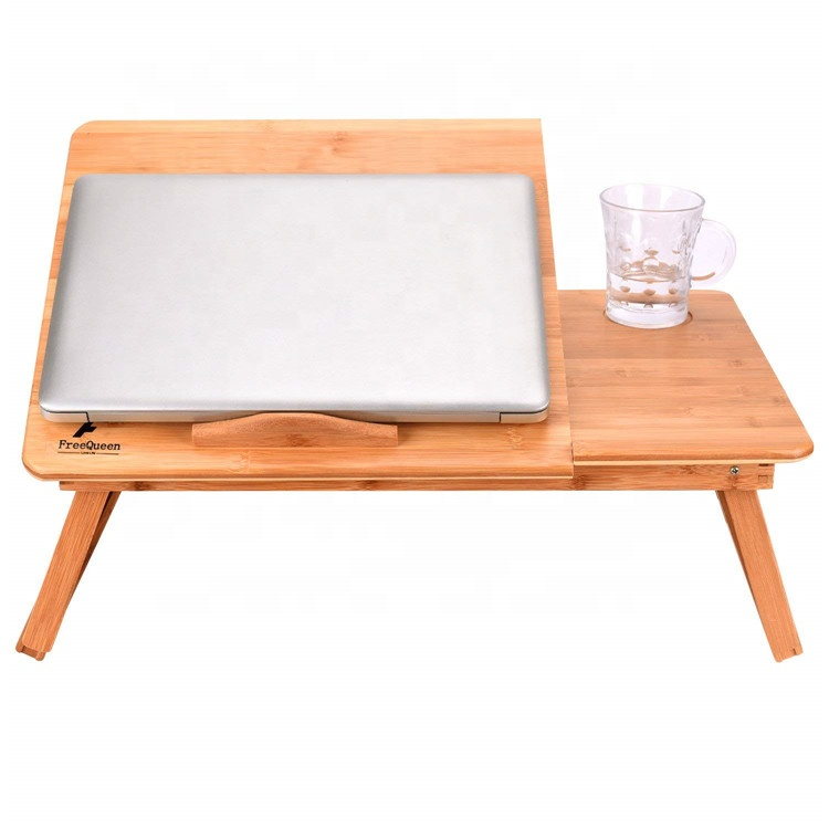 Multi-use Height Adjustable Desk, 100% Bamboo Laptop Table, Breakfast Serving Tray