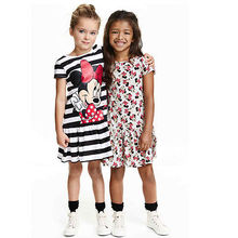Hot Sale New 2016 summer girl dress Mouse print grey baby girl dress children clothing children