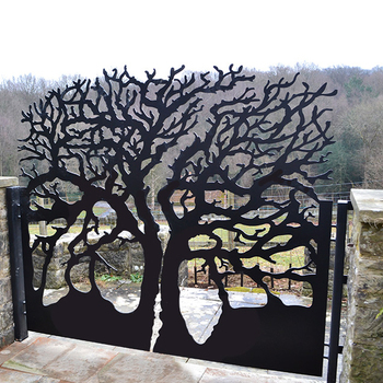 tree design garden fence gate