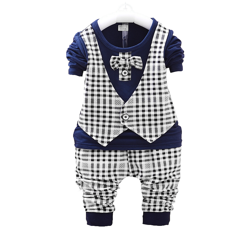 European Style Plaid bow tie tops pant toddler boy suits baby wedding suit suits for baby