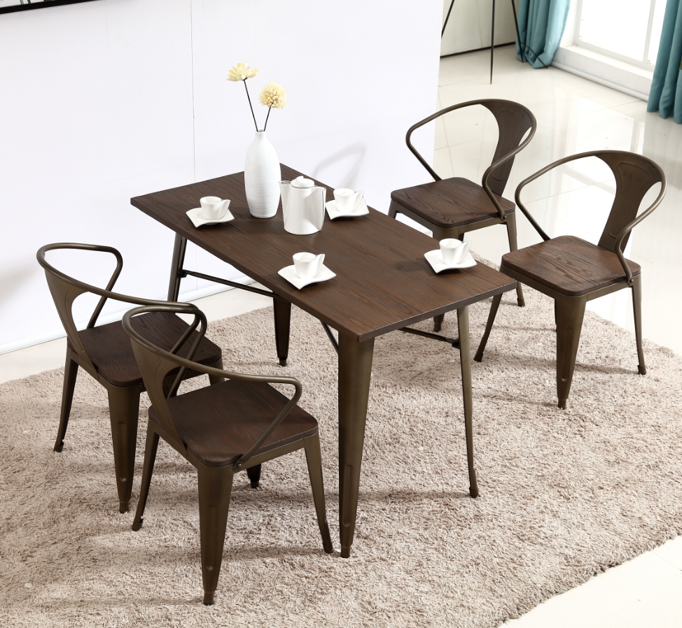 Industrial Farmhouse Style Metal Dining Chair Metal Indoor Outdoor Coffee Table Set Buy Vintage Table Set Coffee Table Chairs Set Dinning Set Table Product On Alibaba Com
