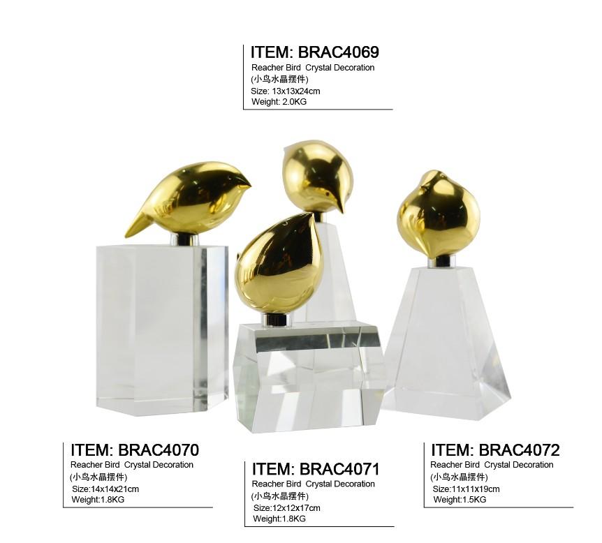 Набор из 4 металлических птиц с кристальной основой для украшения дома