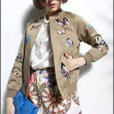 C207 новинка элегантный винтажный бабочка печать ретро пальто женский вышивка с длинным рукавом свободного покроя тонкий осенняя куртка женщин
