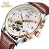White dial Two-tone pink case with brown leather strap