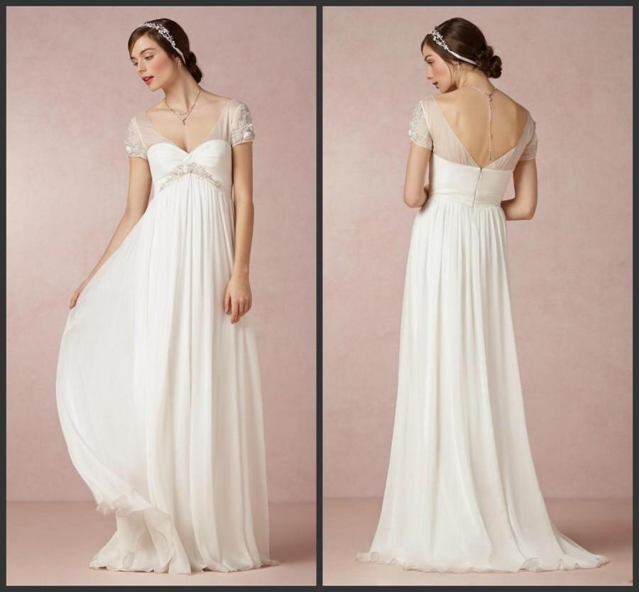 Wedding Gowns With Cap Sleeves: Beach Wedding Gown 2015 Sexy V Neck Short Sleeve Bridal