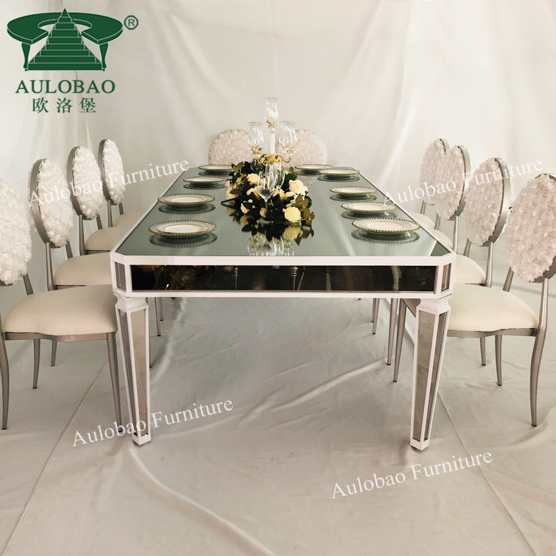 Hotel Furniture Silver Stainless Steel Mirror Glass Top Wedding Dining Table Buy Dining Table Set Mirror Glass Top Dining Table Set Stainless Steel Frame Dining Table Set Product On Alibaba Com