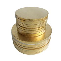 Круглый и квадратный барабан для тортов из гофрированной золотой фольги
