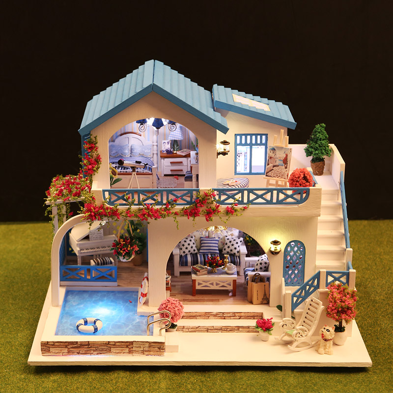 Blue and white big doll house wooden diy music miniature house doll house furniture toys