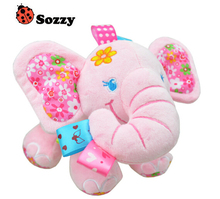 2016 Baby Rattle Toys Elephant Bed Baby Carriage Bells Infant Appease Toys Multi function Baby Puzzle