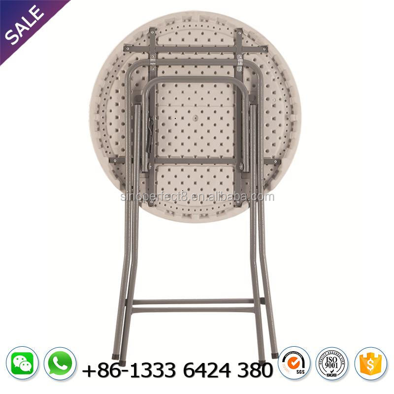 Factory Direct Sale 110Cm Height Outdoor Banquet Wedding Foldable Outdoor Round Portable Folding White Plastic Wine Table