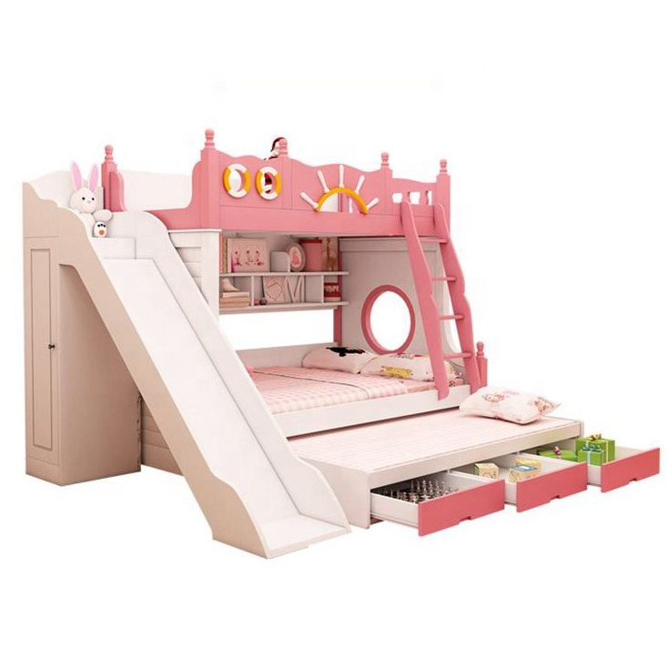 Bunk Bed With Slide Cheap Kids Bed Modern Bedroom Furniture Pink M6 Buy Kids Bunk Beds With Stairs Bunk Bed With Desk Kids Bed With Slide Product On Alibaba Com