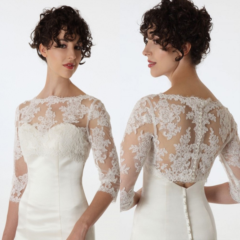 new fashion bride long sleeve lace jacket white ivory bridal bolero for wedding dress party. Black Bedroom Furniture Sets. Home Design Ideas
