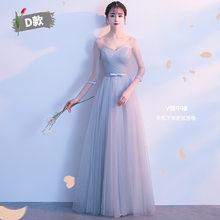 Серое кружевное платье подружки невесты Beauty Emily, длинное платье А-силуэта для свадебной вечеринки 2020(Китай)