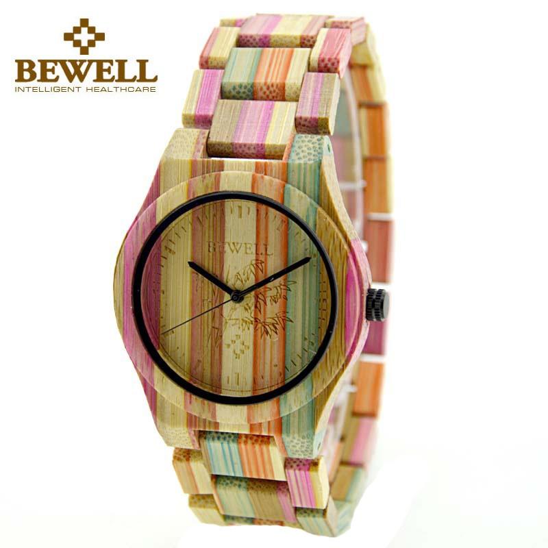 Grosshandel Bewell Bunte Bambus Uhr Quarz Frau Uhren Damen Bambus